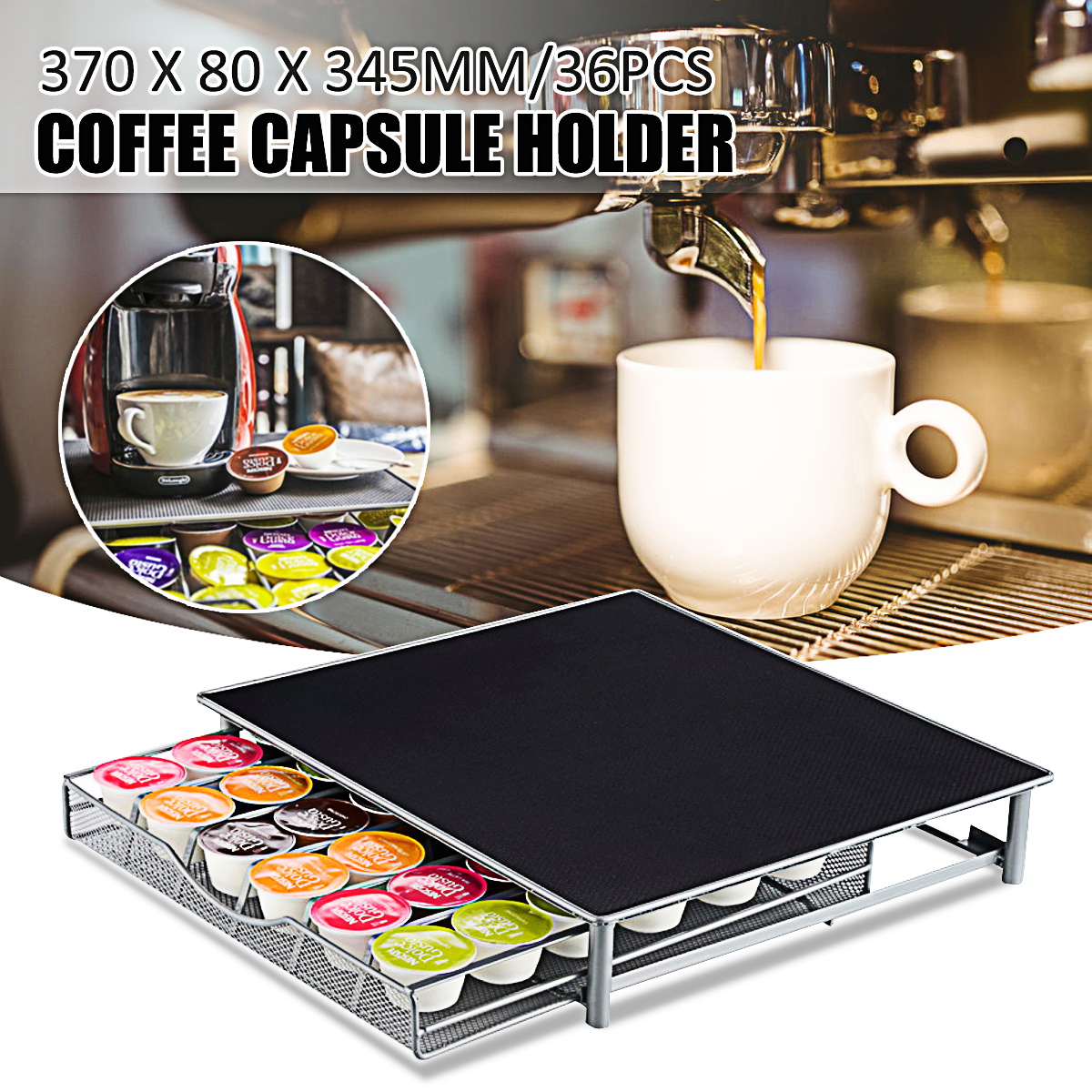 Rack Capsules Coffee Pod-Holder Storage-Stand Drawers Wire Nespresso Organization 370x80x345mm