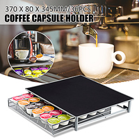 36Cups Storage Stand Rack Drawers Nespresso Coffee Capsules Pod Holder Wire Coffee Capsules Shelves Organization 370x80x345mm