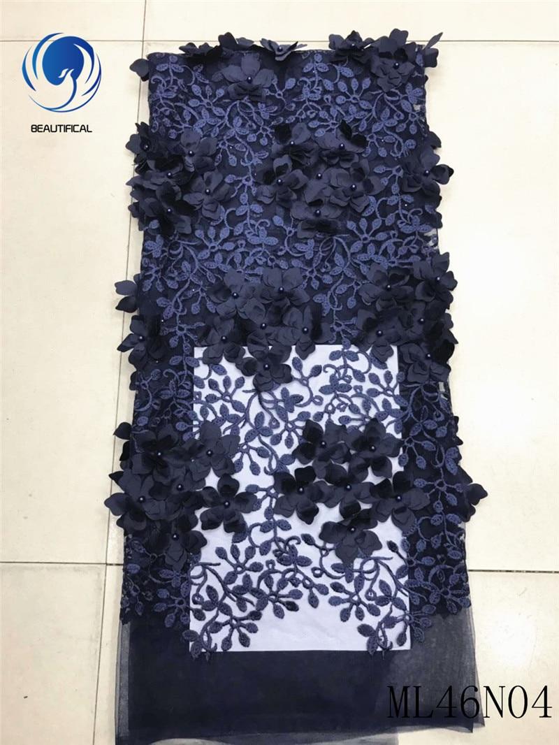 BEAUTIFICAL 3D tessuti di pizzo 2019 appliqued tessuti di pizzo con perline lacci africano vestito appiqued per le donne 5 yards/lot ML46N04BEAUTIFICAL 3D tessuti di pizzo 2019 appliqued tessuti di pizzo con perline lacci africano vestito appiqued per le donne 5 yards/lot ML46N04
