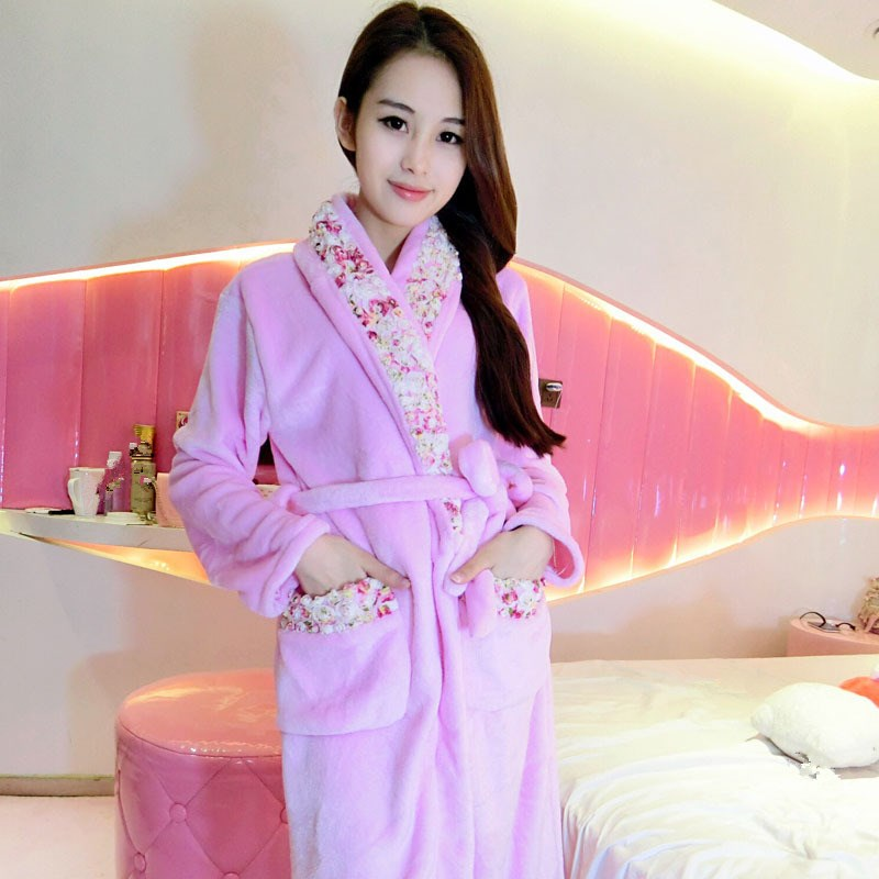 5 Colors Winter Bathrobe Women Bath Pajamas Flannel Warm Robe Sleepwear Women Pink Robes Sexy Nightgowns