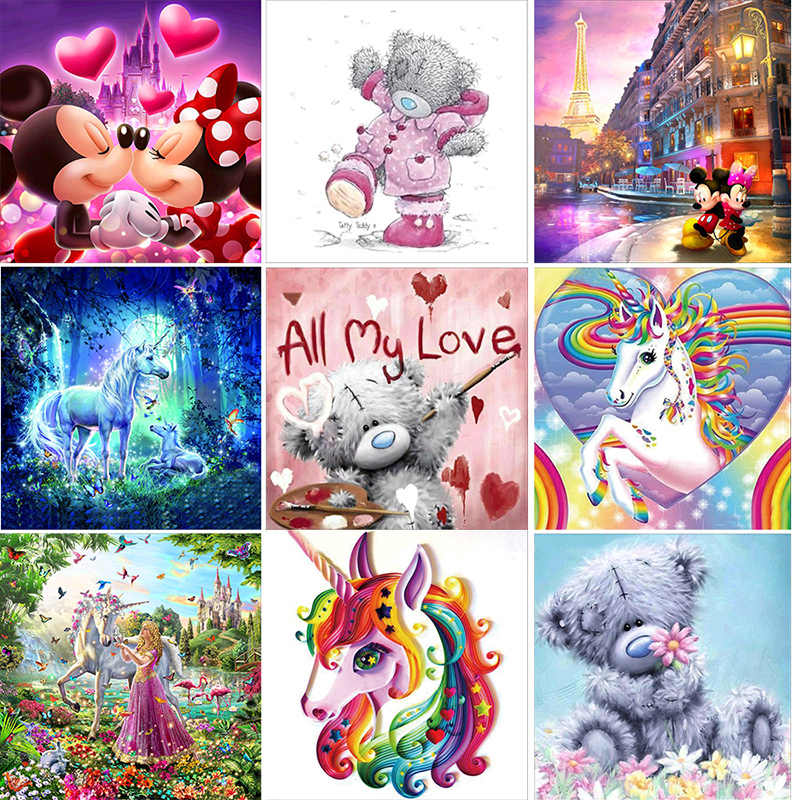 Home Decor 5D Diy Diamond Painting Cross Stitch Kits Diamond Embroidery Diamond Mosaic Cartoon Pattern Animal Picture Kids Gift