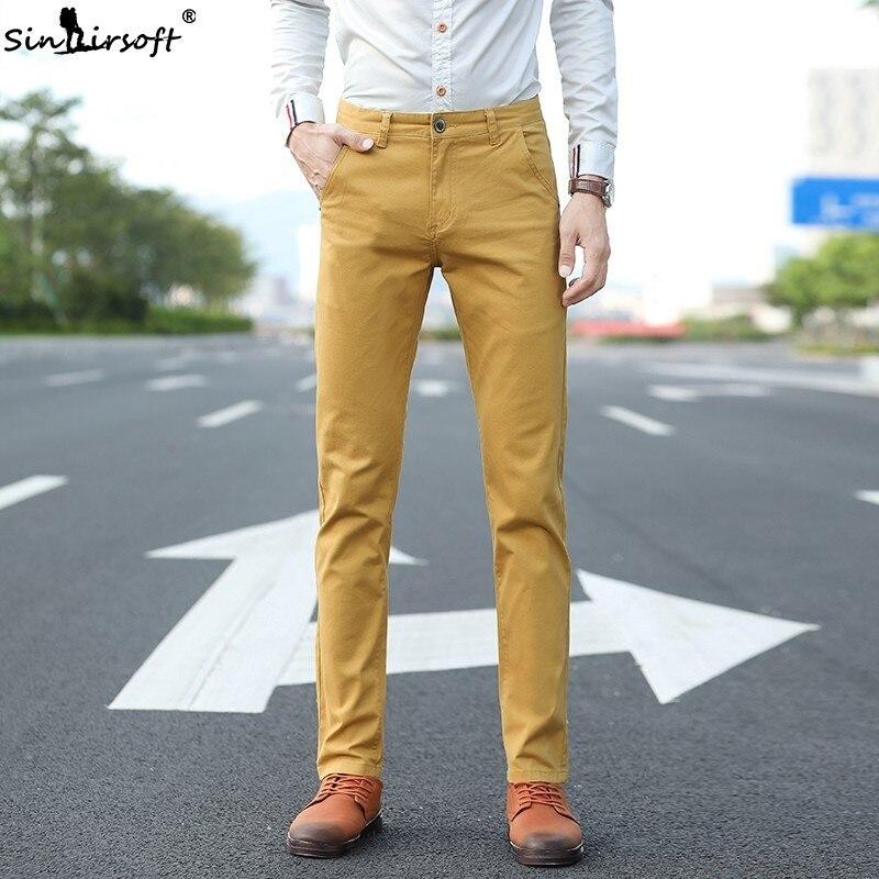 b4a3d4f2e61a Nuevo diseño de pantalones casuales para hombres de algodón Slim Pantalón  Pantalones rectos de negocios de moda sólido color caqui negro ...