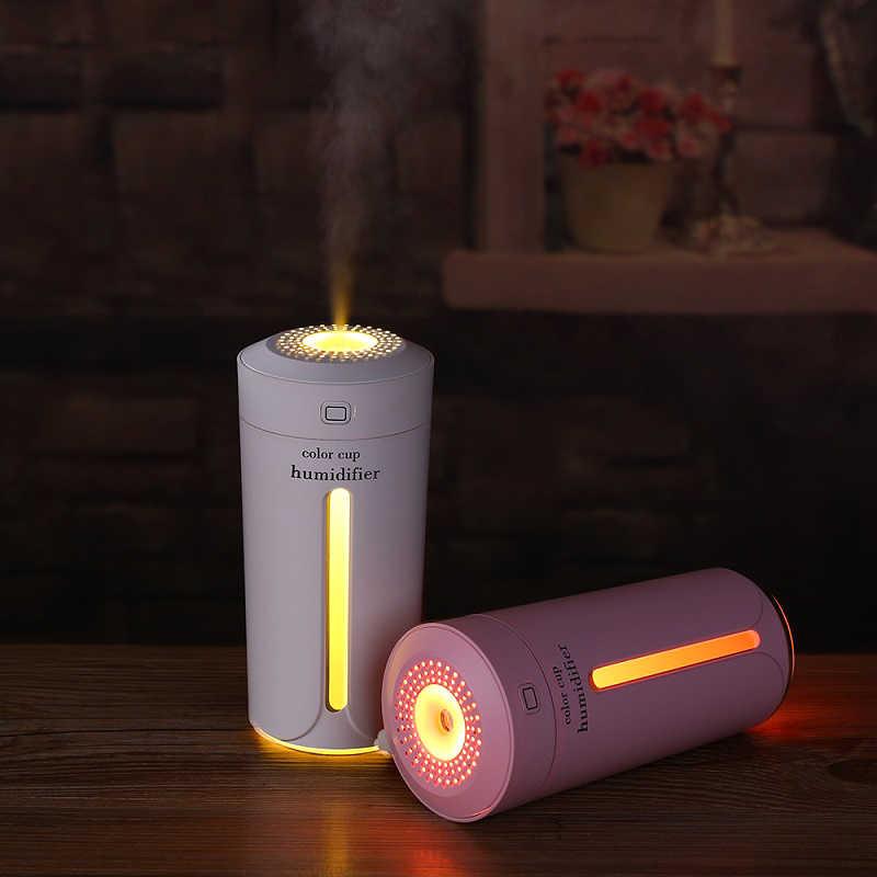 Araba nemlendirici USB uçucu yağ Aroma YAYICI 7 renk değiştiren LED ışıkları ofis ev ultrasonik hava nemlendirici
