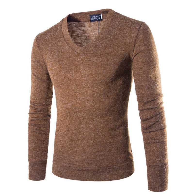 2019 Sweater Men Long Sleeve Pullovers Outwear Man V-Neck Sweaters Tops Loose Solid Fit Knitting Clothing 7Colors New