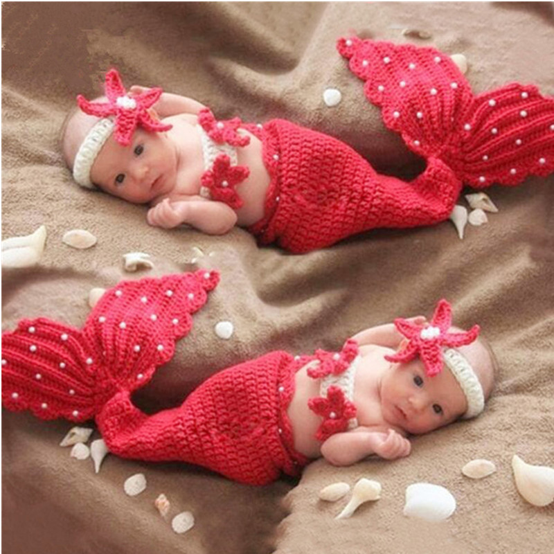 Baby Photography Props Accessories Wool Knitted Mermaid Costume Headwear+Bra+Tail 3pcs/Set Baby Photo Props Newborn Fotografia