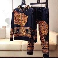 Костюм с капюшоном + штаны леопардовая Корона тигра Королевский принт Harajuku Ретро винтажные мужские свитера и толстовки дизайнерская брендо