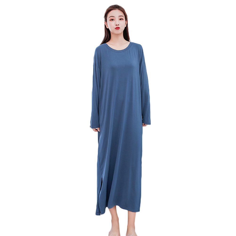 YJSFG HOUSE Womens Dress Modal Long Sleeve Loose O-neck Dress   Nightgown   Sleepwear Autumn Long Dress Home New   Sleepshirts