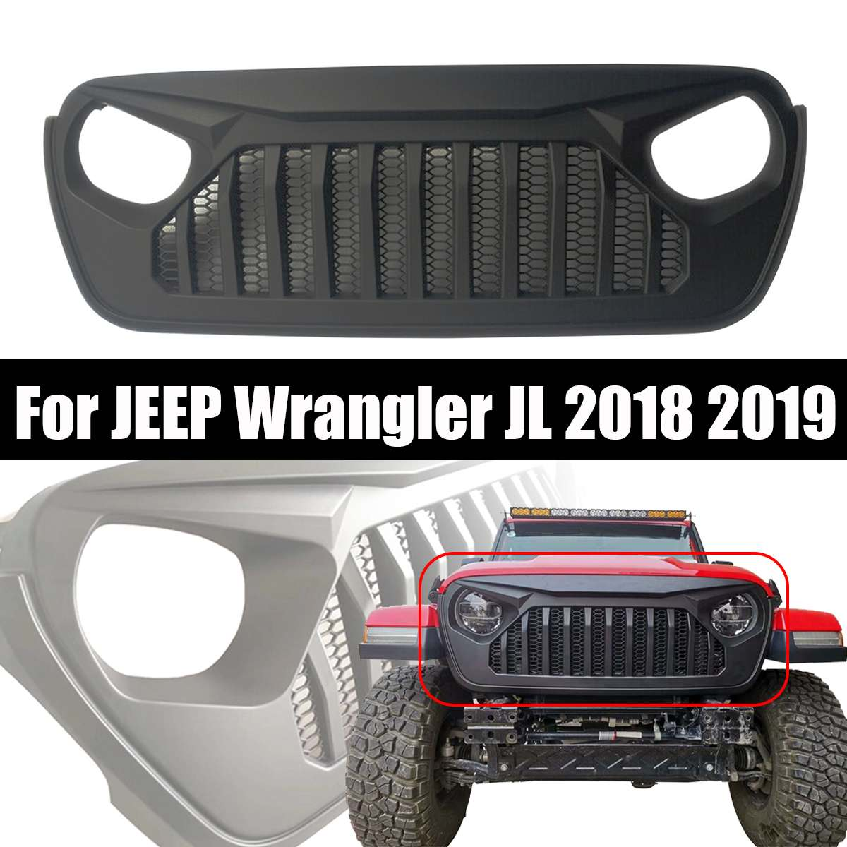 Racing Grille for Jeep for Wrangler JL 2018+ Car Front Grilles Cover Decoration for Jeep for Wrangler JL Car Accessories StylingRacing Grille for Jeep for Wrangler JL 2018+ Car Front Grilles Cover Decoration for Jeep for Wrangler JL Car Accessories Styling
