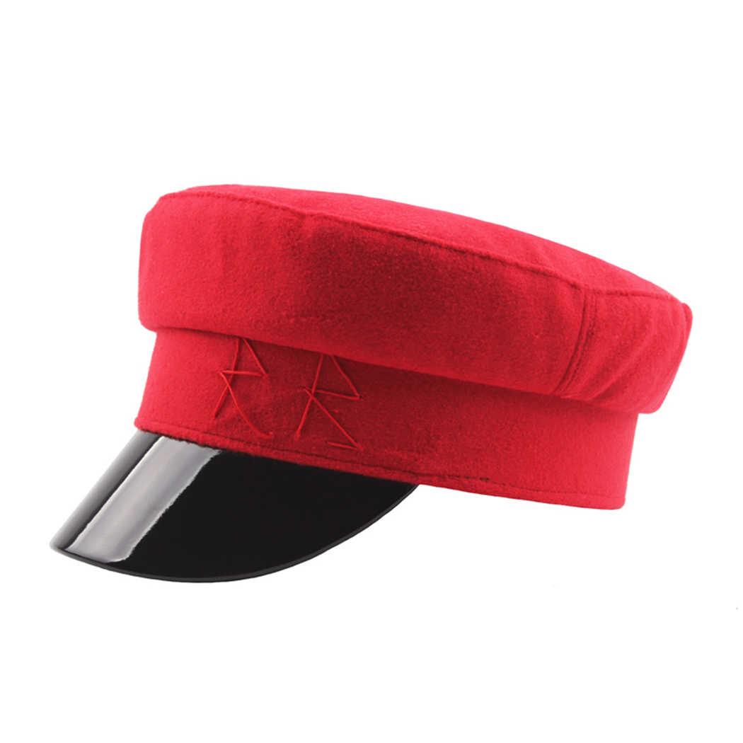 Стильная военная шапка берет Для женщин Для мужчин с закруглёнными краями и пуговицей сверху козырек Кепки s осенние шерстяные шляпы матроса кости женские зимние армейские военные бейсбольная Кепка Для Взрослых на открытом воздухе