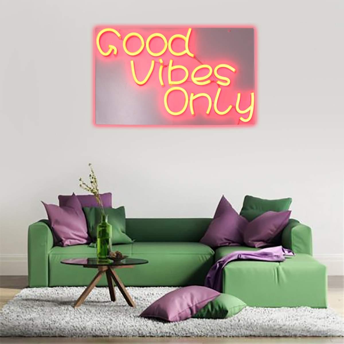 Good Vibes Only Neon Art Sign LED Light Tube Handmade Visual Artwork Wall Decoration Colorful Neon Bulbs Billboard 60cmX35cm