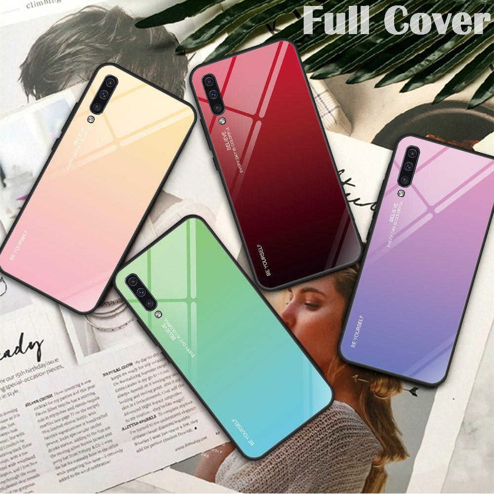 Gradient Tempered Glass Case For Samsung A30 A50 A40 A60 A70 A20 A10 A20E M10 M20 M30 Galaxy A7 A9 2018 A9S A8 A6 Plus Back Case
