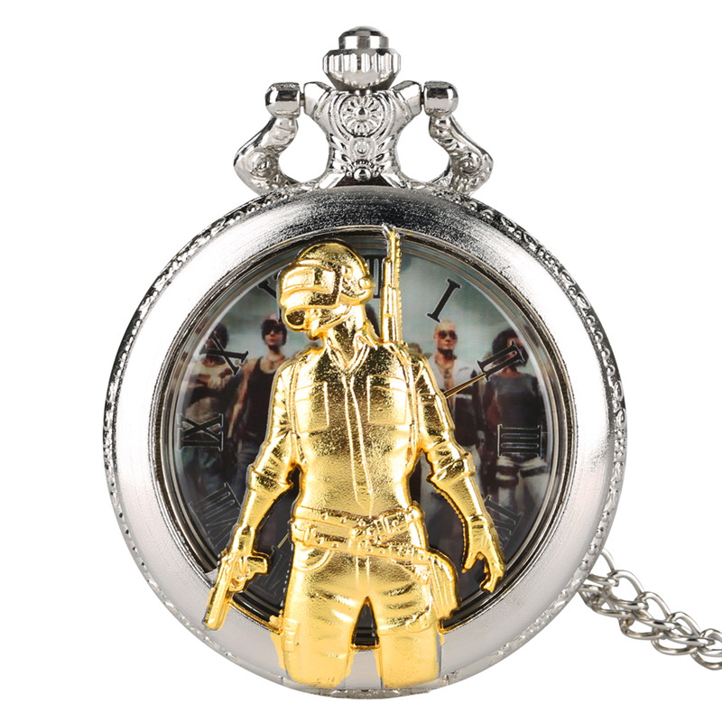 PUBG Theme Quartz Pocket Watch Analog Pendant For Men Fighter Hollow Out Pocket Watches Hands Pendant Watch Link Chain