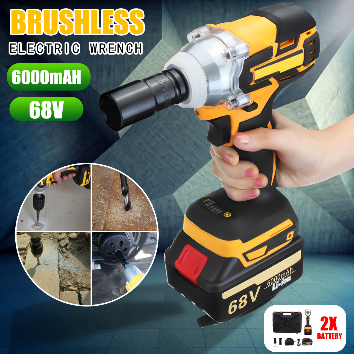 68V 88v 6000 15000mAh Impact Brushless Cordless Electric Wrench 2 Rechargeable Extra Battery 1 Charger Drive
