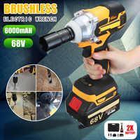 68V/88v 6000/15000mAh Impact Brushless Cordless Electric Wrench 2 Rechargeable Extra Battery 1 Charger Drive 380 N.M Power Tools