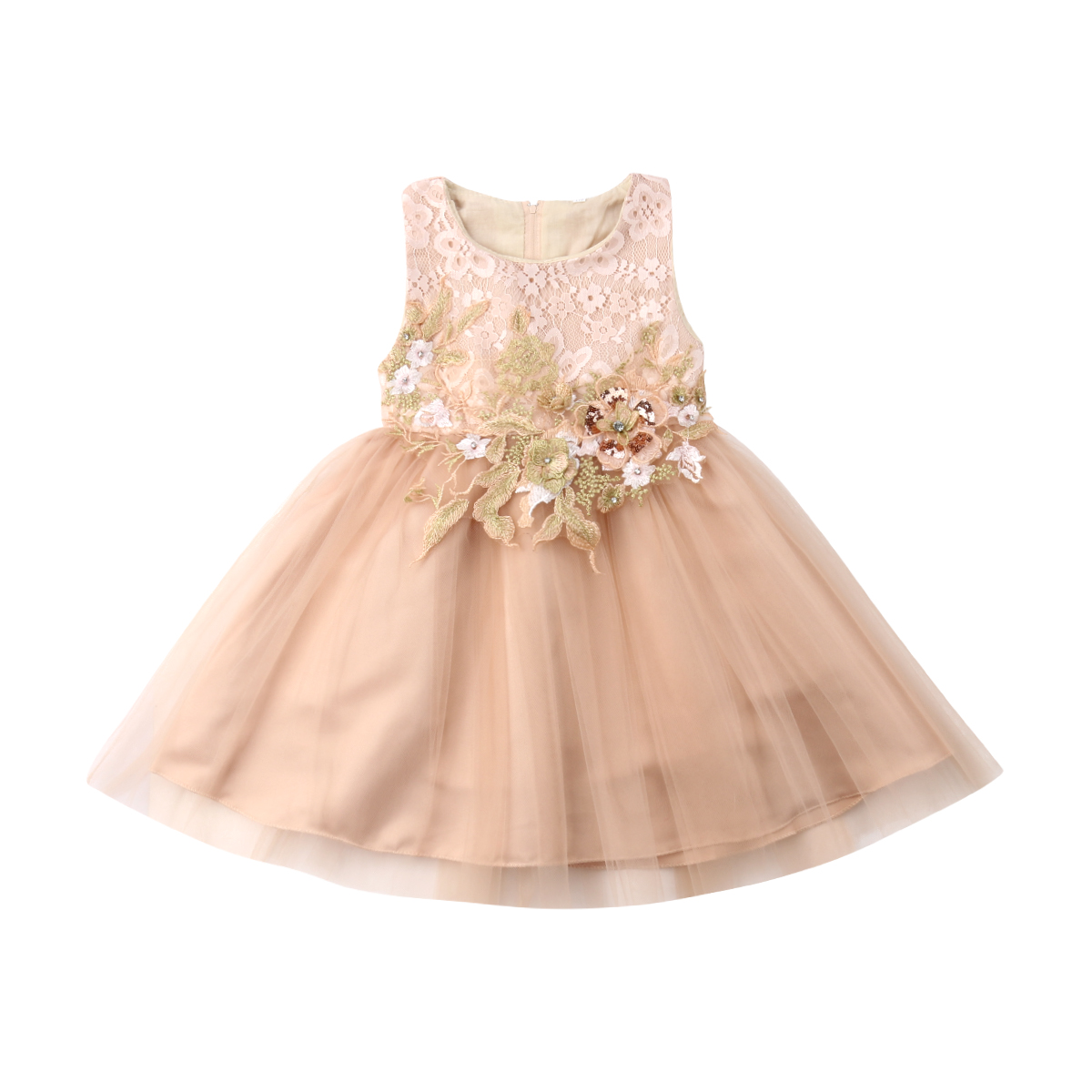 44e4e934c9 2019 Spring Flower Toddler Girls Embroidered Lace Bridesmaid Wedding  Pageant Party Prom Dresses Size 3-10