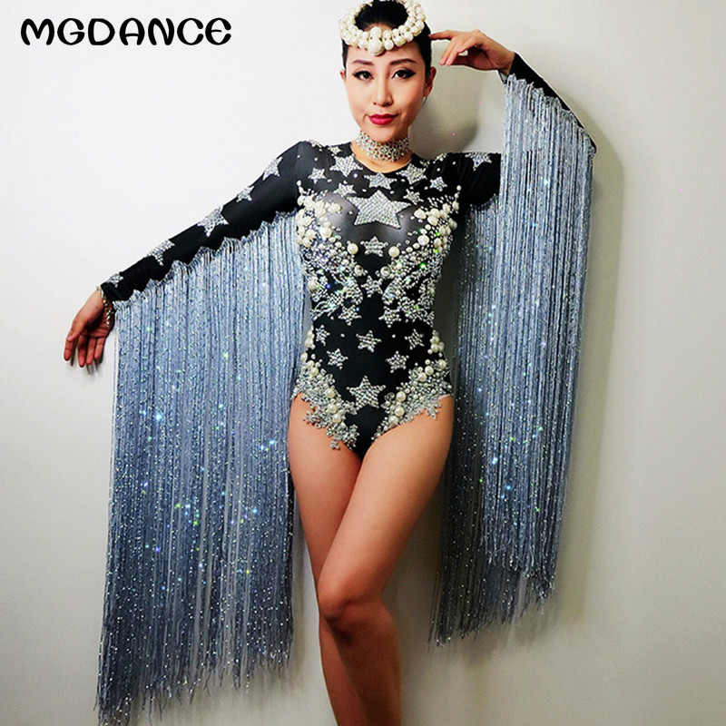 Новинка, женский сексуальный костюм, черная певица, бахрома, кристаллы, кисточка, джаз, Dj, костюм, горный хрусталь, танцор, ночной клуб, сценич