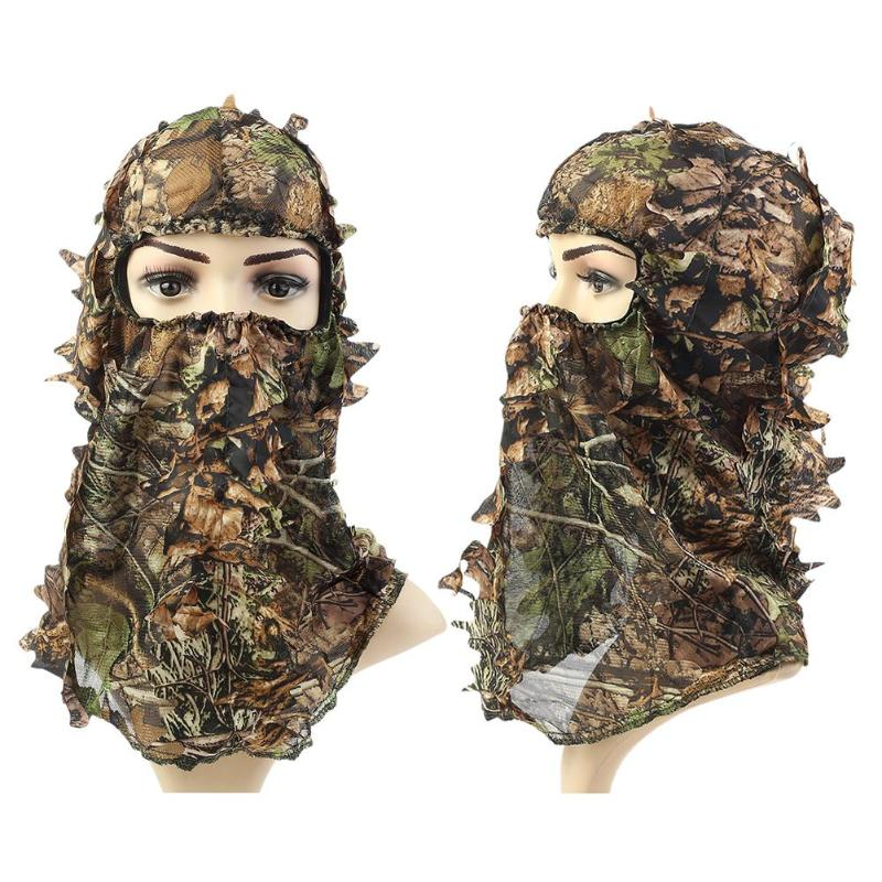 3D Leaves Polyester Tactical Military Hunting Full Face Mask Protection Balaclava Outdoor Hunting Mask Full Face Hat Cap