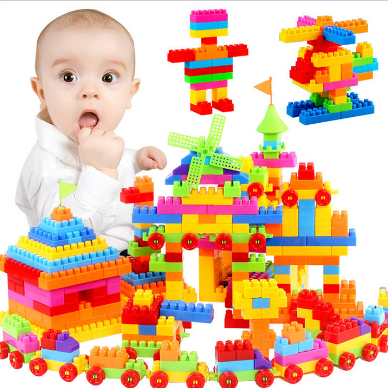 110-300pcs Building Blocks ABS Eco-friendly Materials with Storage Box DIY Spell Inserting Blocks Toys for Children