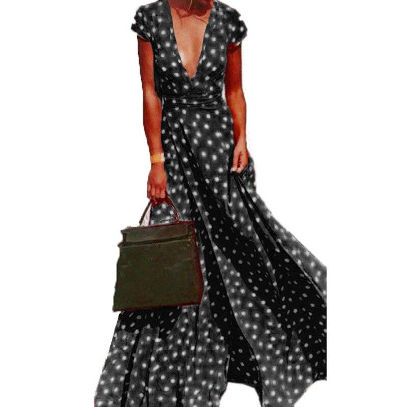 Горошек Разделение платье Для женщин летние Повседневное Sexy Глубокий V шеи сарафан с короткими рукавами Вечерние пляжное длинное платье ...