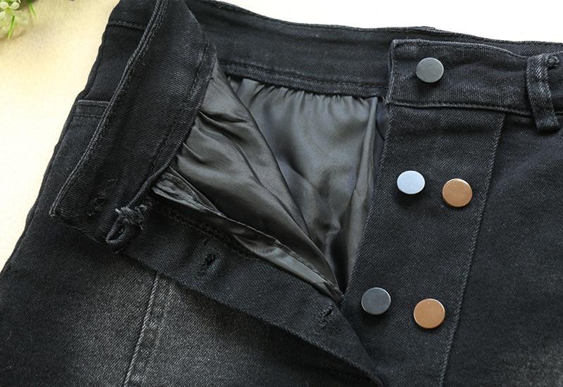 Fashion Denim Skirt High Waist A line Mini Skirts Women 2019 Summer New Arrivals Double Button Pockets Black Jean Skirt in Skirts from Women 39 s Clothing