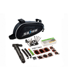 Multifunction Bicycle Tool Repair Kit Set With Pump Bag Bicycle Accessory Black