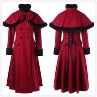 Women Double Breasted Lace Up Capelet Coat Female Long Women Winter Coat Wool Jacket Red Thickening Outwear Parkas Xxl