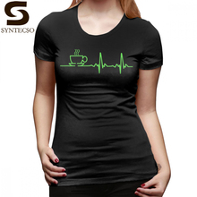 Nurse T-Shirt Morning Coffee Heartbeat EKG T Shirt Short Sleeve Funny Women tshirt Pattern Casual Oversized Ladies Tee