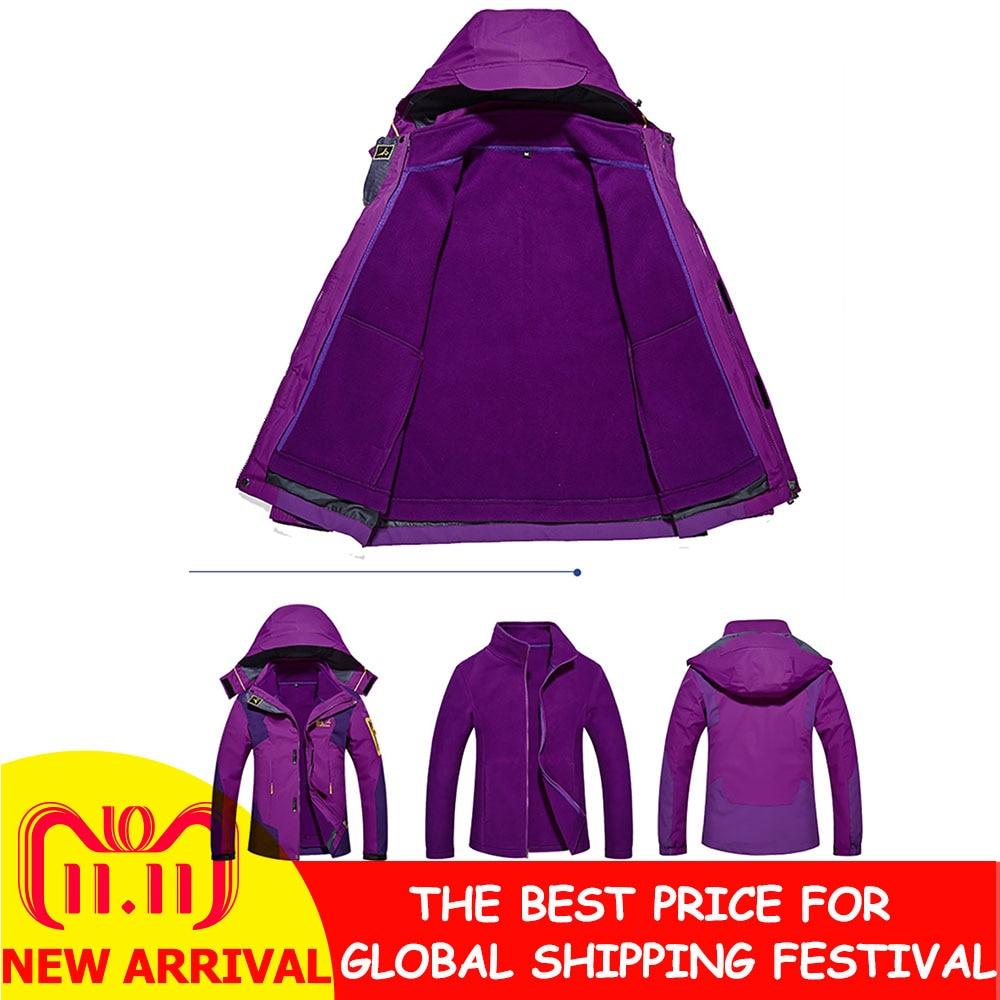 2 en 1 veste d'hiver multifonctionnelle femmes en plein air mode Ski à capuche veste imperméable épaissie maintien au chaud sweat à capuche pour homme 2018