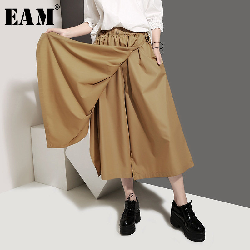[EAM] 2019 New Autumn Winter High Elastic Waist Black Split Joint False Two Wide Leg Loose Pants Women Trousers Fashion JU404