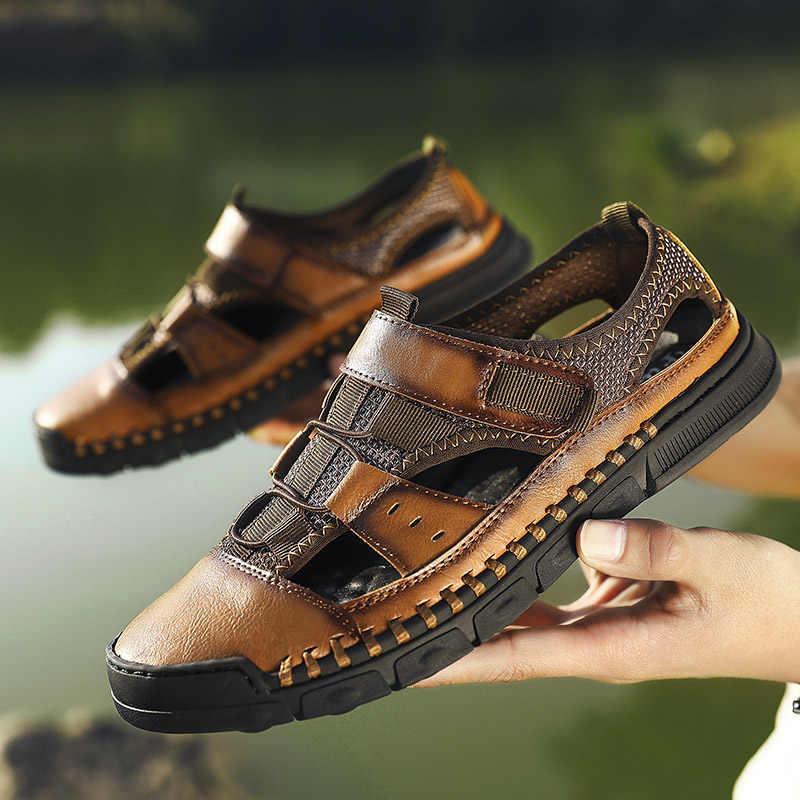Yeni yaz sandalet erkek deri yüksek kaliteli plaj açık sandalet rahat yumuşak ayakkabı kauçuk ayakkabı 2019 büyük boy 46