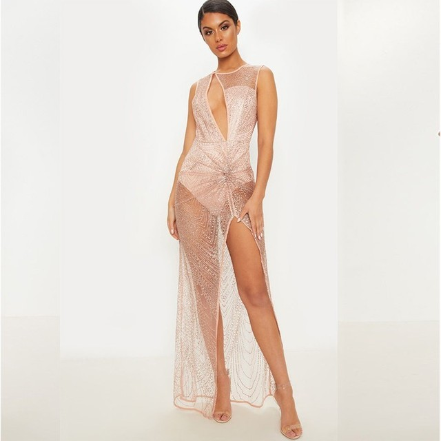 meilleur pas cher acd2b a7279 Robe paillettes or maille sexy transparent vestido femme vêtements vestidos  robe ete 2018 longues robes de soirée ukraine