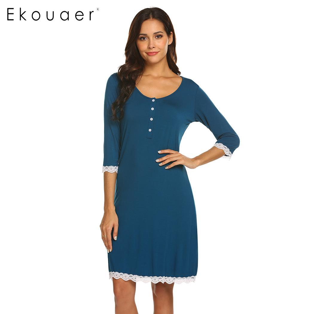 Ekouaer   Nightgown   Chemise   Sleepshirts   Women Nightdress V-Neck Maternity Three Quarter Sleeve Button Cozy Sleepwear Night Dress