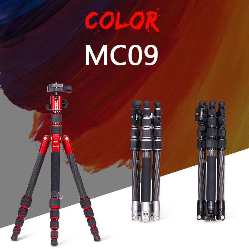 Benro MC09 Tripod Carbon Fiber Portable Tripods For Camera Reflexed Monopod 5 Section Carrying Bag Max Loading 6kg DHL Free
