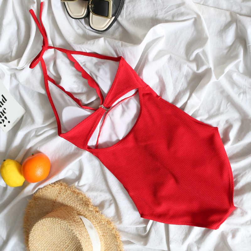Women One Piece Swimsuit Sexy V Neck Push Up Swimwear Solid Waved Monokini Bodysuit Halter Top Bathing Suit Summer Beachwear