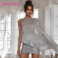 Karlofea Sexy Silver Glitter Sequin 2 Piece Dress Suits Matches Shine Backless Evening Club Party Short Dresses Ladies Outfits