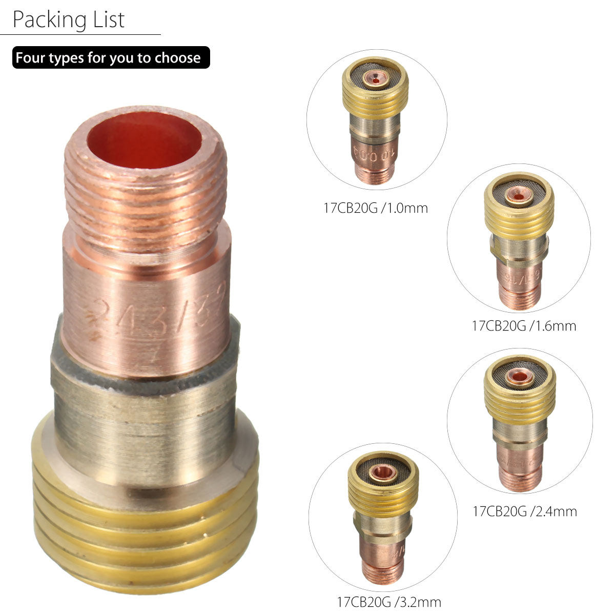 Brass Collets Body Stubby Gas Lens Connector With Mesh For Tig WP-17//18//26 Torch