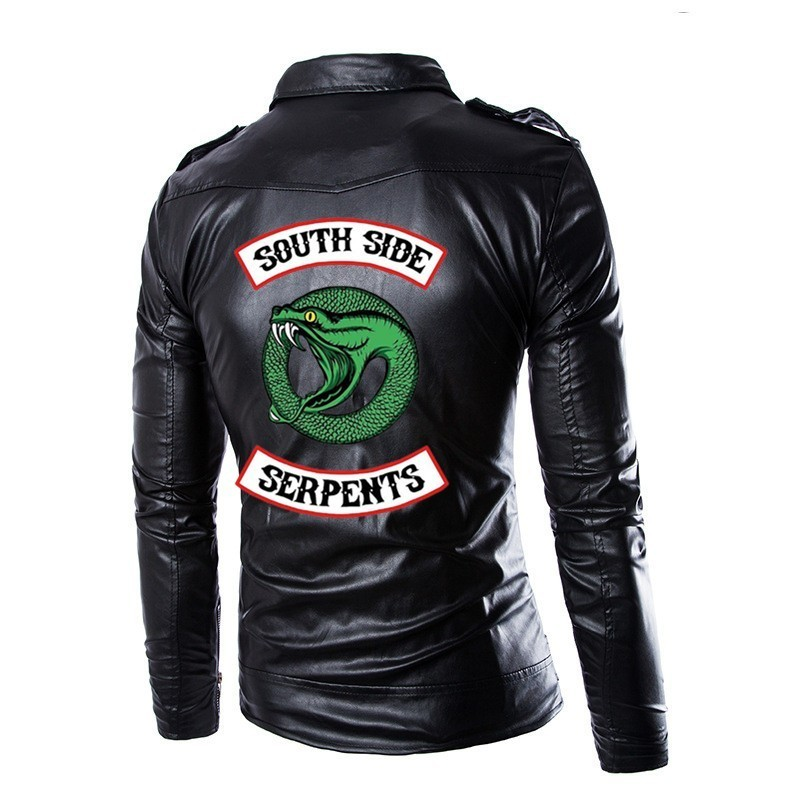 Riverdale Serpents South Side Spring Motorcycle Jackets Pu Leather Moto Jackets Men Slash Zipper Lapel Biker Rider Leather Coat