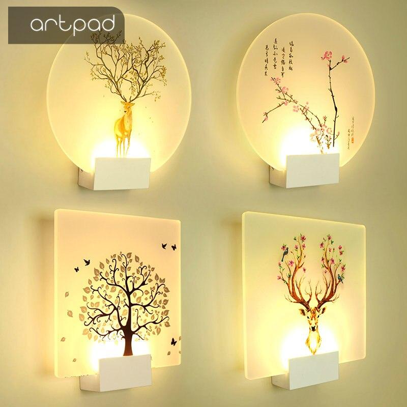 Artpad moderno belleza romántica imagen clásico lámpara de pared para cama dormitorio escalera corredor porche nórdicos LED iluminación del hogar