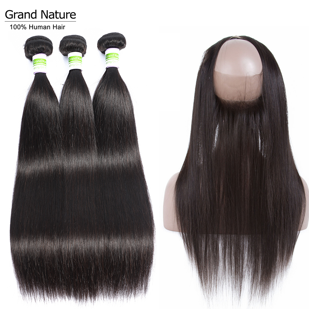 Peruvian Hair Bundles With 360 Lace Frontal Closure 4pcs 100% Preplucked Straight Human Hair Weaves Extensions Remy Full Head