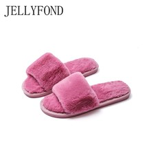 JELLYFOND Fur Slippers Women Winter Home Flip Flops 2018 Fashion Basic Flock Plush Indoor Slides House Shoes Woman Plus Size 41 jellyfond flower slippers genuine leather shoes woman handmade slides flip flops platform clogs for women slippers plus size