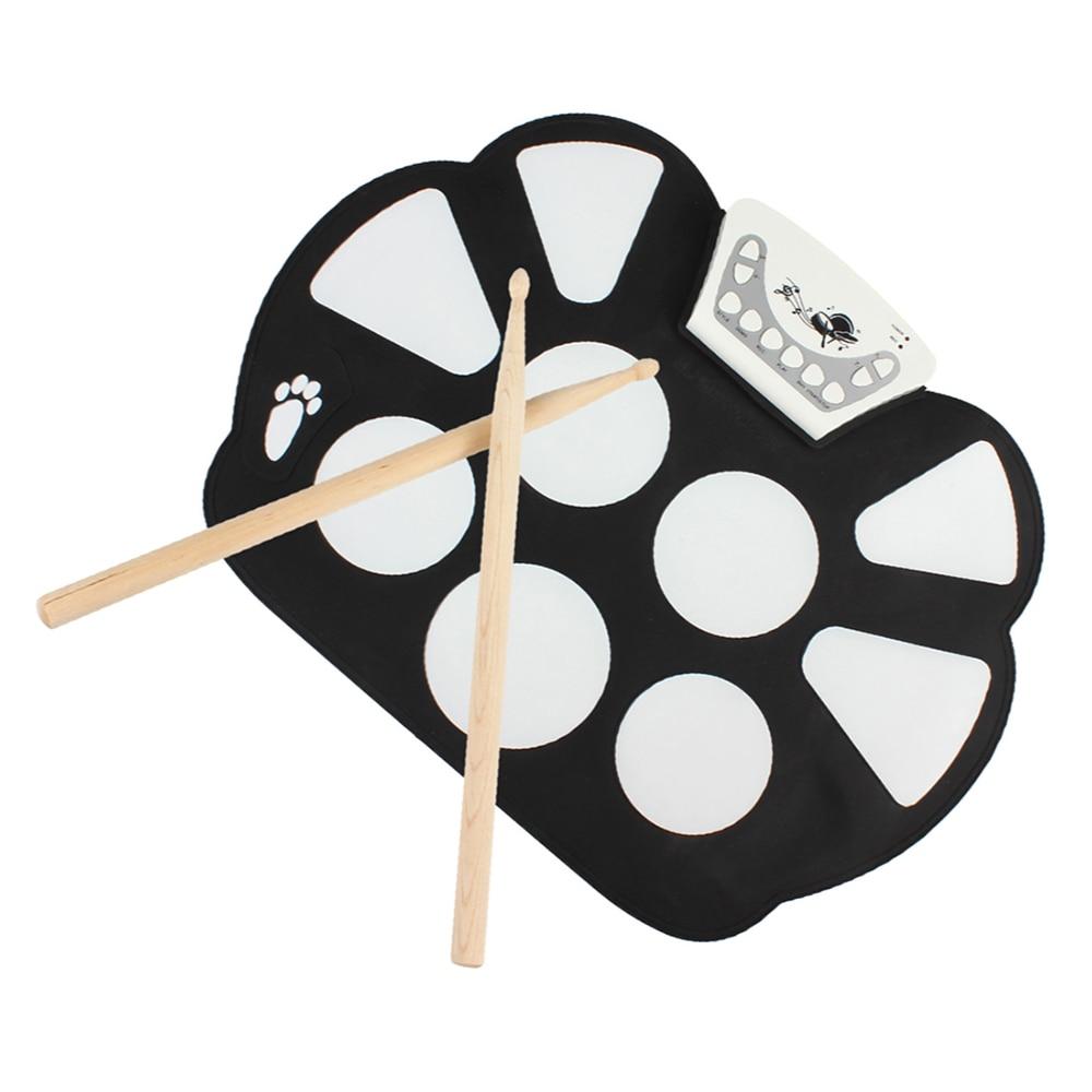 Kit de batterie enroulable électronique Portable 9 Pad Instruments de Percussion Kit de batterie enroulable d'instruments de musique numériques avec 2 baguettes de tambour