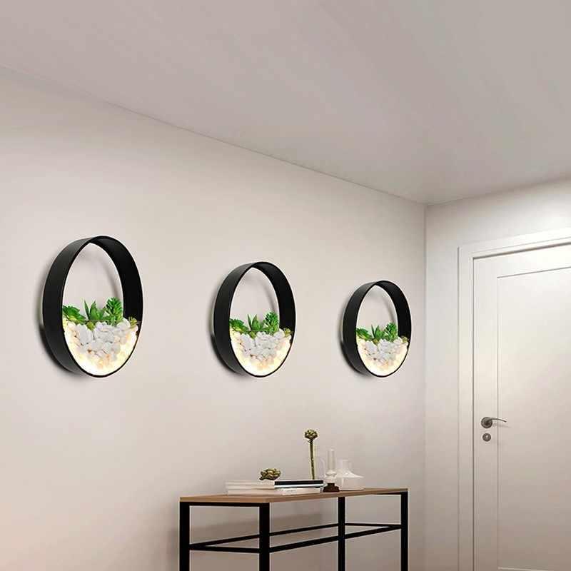 جديد الحديثة وحدة إضاءة LED جداريّة مصباح غرفة نوم السرير ديكور المعادن الجدار الشمعدان الأبيض الأسود أضواء مستديرة الحائط الزهور الاصطناعية حجر