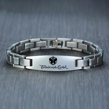 Personalized Stainless Steel ID Tag Bracelet for Men Boyfriend Free Engraving Tommow Land Brackelts Brazalet Brazalete(China)