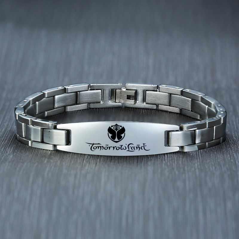 Spersonalizowane ze stali nierdzewnej ID Tag bransoletka dla mężczyzn chłopaka darmowa grawerowanie Tommow ziemi bransoletki bransoletka Brazalete