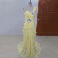 Sparkly Beads Mermaid Prom Gown Gorgeous Pleat Floor Length Yellow Chiffon Evening Wedding Party Dresses
