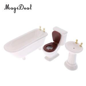 Image 4 - 3Pcs/Set 1/12 Scale Modern White Ceramic Bathroom Bathtub Toilet Set for Dollhouse Miniature Furniture Acc Decoration