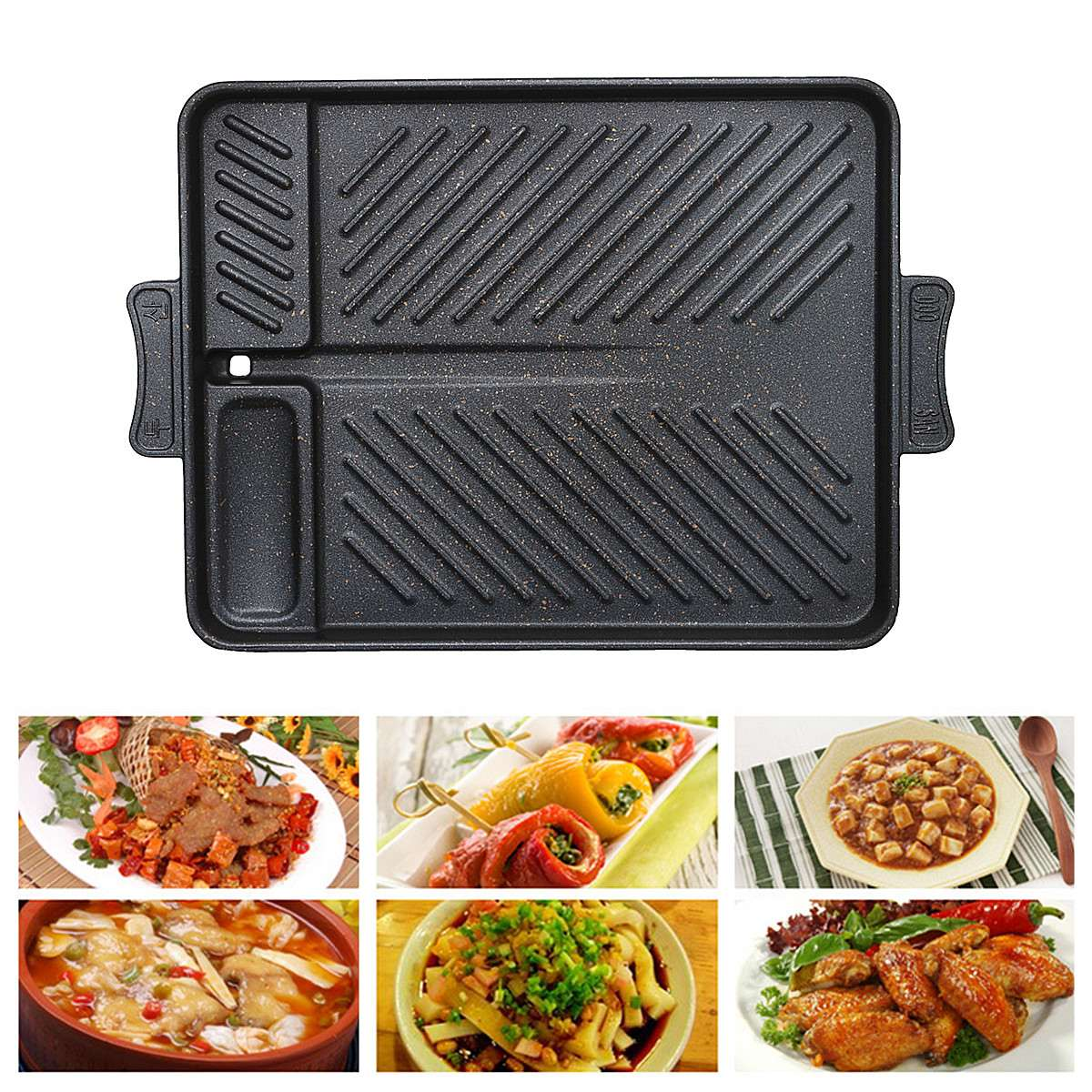 Home Baking Pan Barbecue Non Stick Table Top Roasting Tray Fried Dish Roaster Grill Twill Pattern Design Heat Evenly For In/outdoor