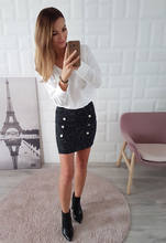 2019 New Style Fashion Hot Women Buttons High Waist A-Line Mini Skirt Clubwear Pencil Button Plaid Skirt(China)