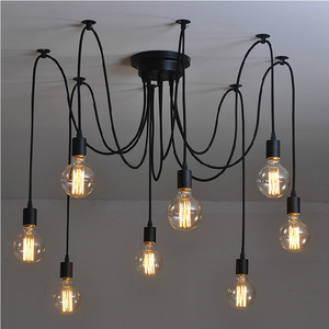 8 Arms Antique Classic Ajustable DIY Ceiling Spider Lamp Light E27 Retro Chandelier Pendant Dining Hall Bedroom Hotel