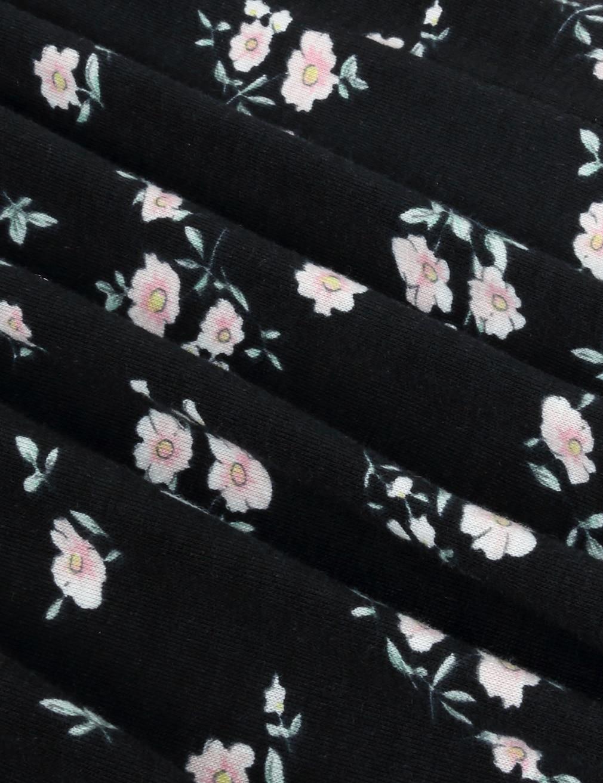 Tops Blusa Mujeres Camisas Casual Manga Impreso Vintage black O Blusas Floral Cuello Plisada Las pink Blue Larga Uv7Ax